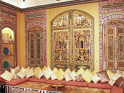 """The """"Turkish Room"""" was created from pieces of the interior of a 19th-century Damascus mansion."""