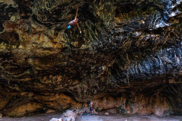 Climbing in Nezer Cave thumbnail