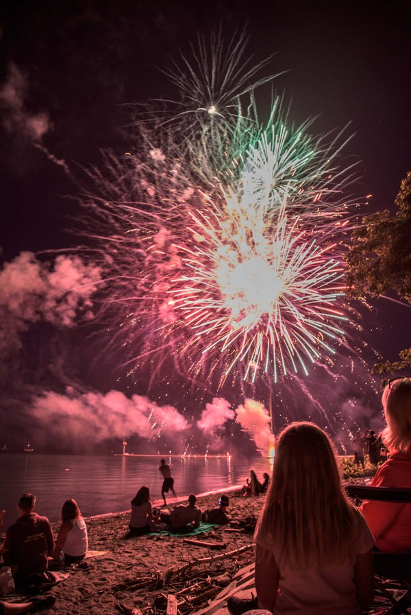 Fire works over Lake Ontario, New York. thumbnail