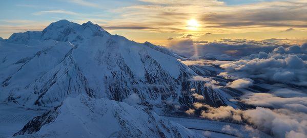 Sunset over Denali while flying. thumbnail