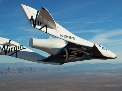 Virgin Galactic's SpaceShipTwo is seen gliding back to Earth after its first test flight in 2010.