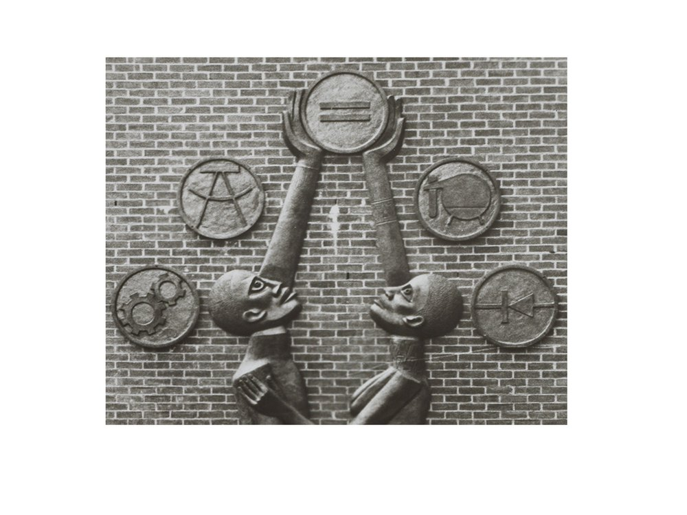 Photograph of Elizabeth Catlett sculpture Students Aspire with description (detail), 1978 / unidentified photographer. Elizabeth Catlett papers, 1957-1980. Archives of American Art, Smithsonian Institution.