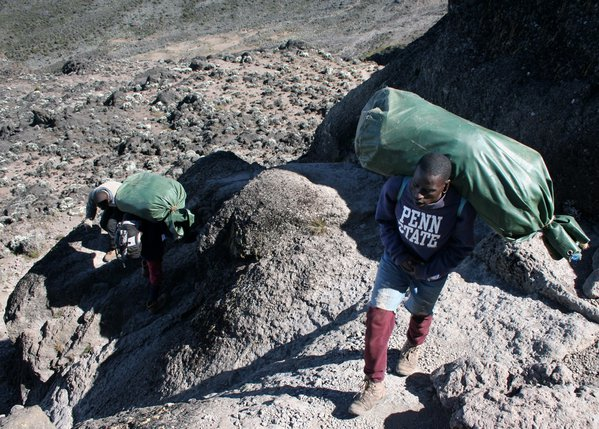 Porters on the Barranco Wall, Mount Kilimanjaro, Tanzania thumbnail