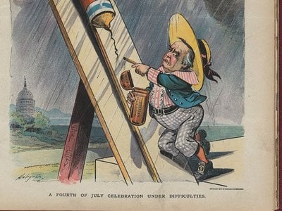 An 1897 poster critiquing the McKinley administration set during the Fourth of July shows the inherent danger of do-it-yourself fireworks.