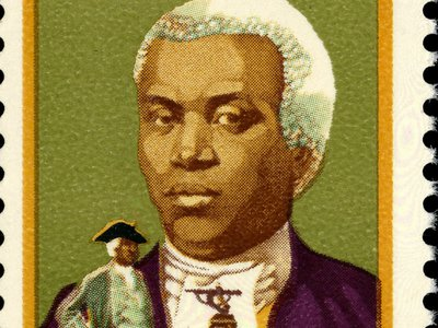 Benjamin Banneker as portrayed on a stamp released in 1980 as part of a Black Heritage series.