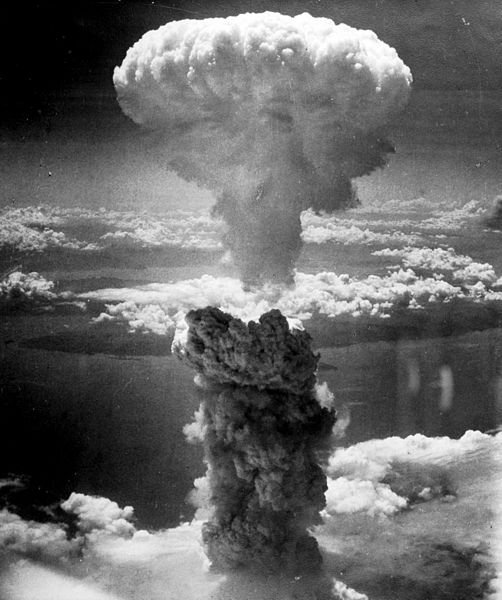 """The mushroom cloud produced by the """"Fat Man"""" bomb from the bombing of Nagasaki, Japan."""