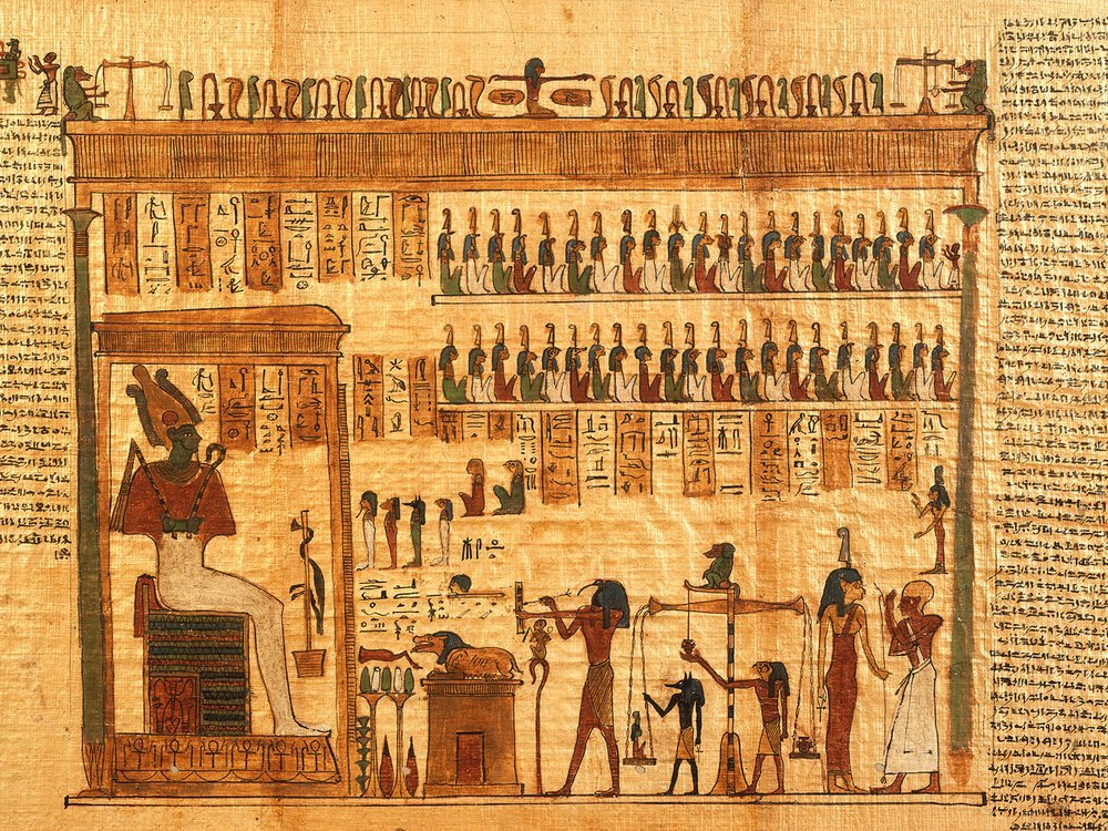 This fragment of the Egyptian <em>Book of the Dead</em> depicts the god Osiris.