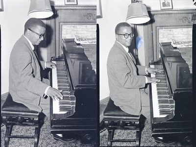 Billy Strayhorn playing piano in a home, May 26th,1952.