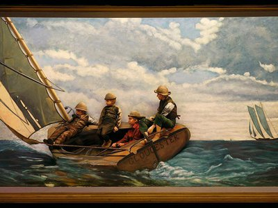Breezing Up (A Fair Wind) by Winslow Homer (1873-1876) is one of the many artworks recreated for the Pageant of the Masters.