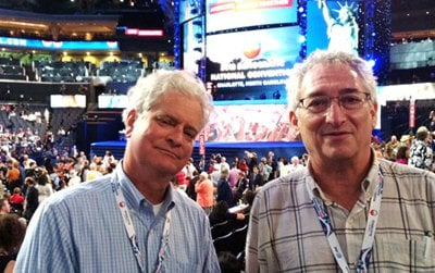 Curators Larry Bird and Harry Rubenstein on the convention floor in Charlotte.