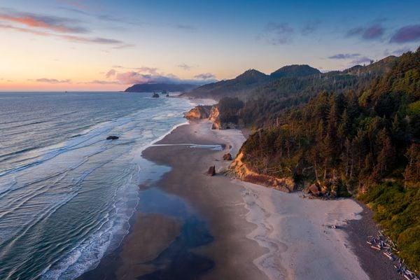 Aerial Photo of the Oregon Coast at Sunset thumbnail