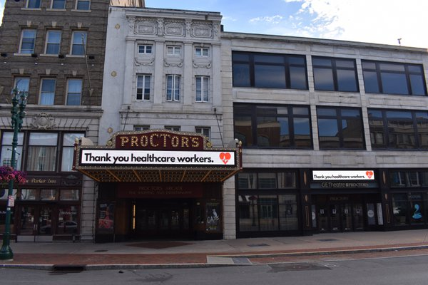 Proctor's Arcade Facade in Downtown Schenectady, NY displaying a message of grattitude thumbnail