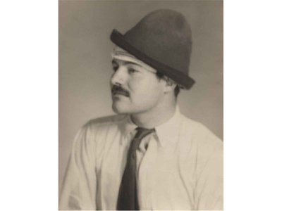 A 1928 photograph of Ernest Hemingway, held in the collections of the Smithsonian's National Portrait Gallery, was taken in Paris by the artist Man Ray after the legendary writer suffered a life-threatening head injury.
