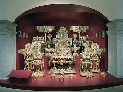 The Throne of the Third Heaven of the Nations' Millennium General Assembly was found in a garage after the 1964 death of its self-taught creator, Washington, D.C. janitor James Hampton.