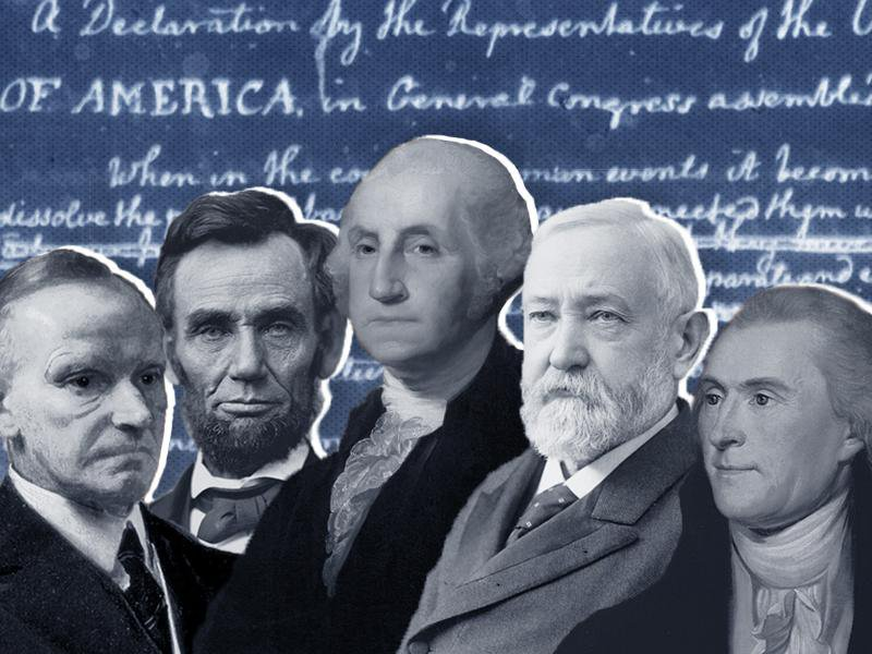 Cutouts of black and white portraits of all the presidents, foregrounded against a blue and white version of Thomas Jefferson's handwritten draft of the Declaration of Independence