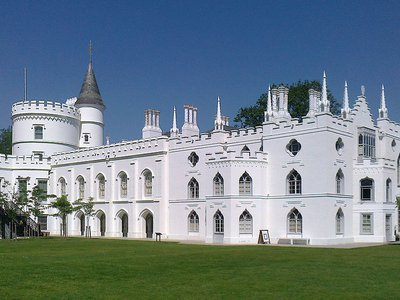 Walpole's neo-Gothic estate boasts a castle-like white exterior, labyrinthine network of closets, chambers and rooms