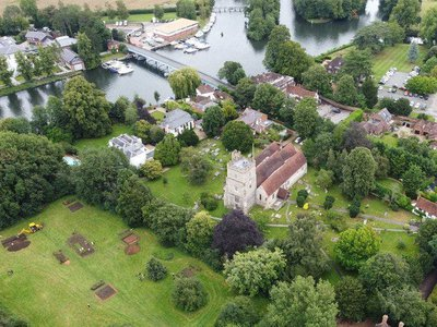 The excavation site lies next to Holy Trinity Church in the English village of Cookham.
