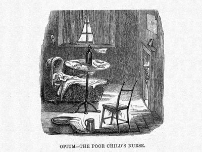 This cartoon from Harper's Weekly depicts how opiates were used in the 19th century to help babies cope with teething.