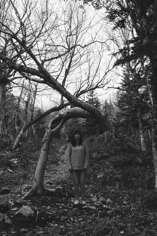 A woman standing under a dead tree in Ingonish, Nova scotia thumbnail