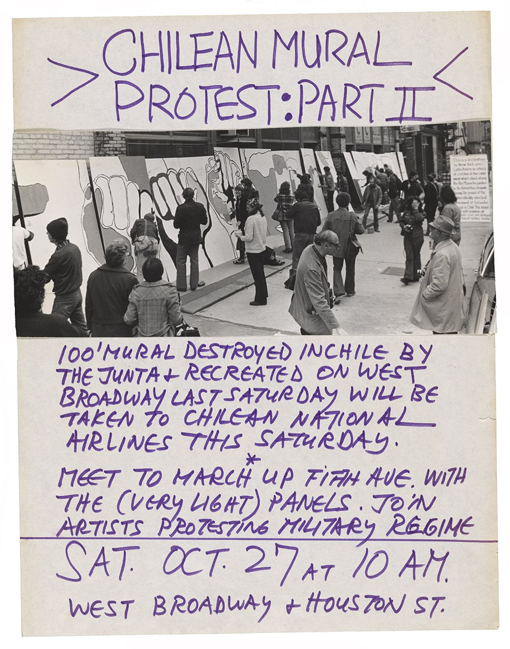 Poster advertising the second of a two-part action in New York protesting the 1973 Chilean coup.