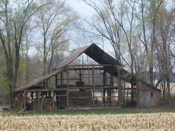 Outlining the barns past, shortly before its demolition to make way for new construction, at seasons end thumbnail