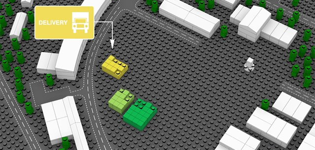 Still from an animation illustrating the concept behind BIG's design for Lego House