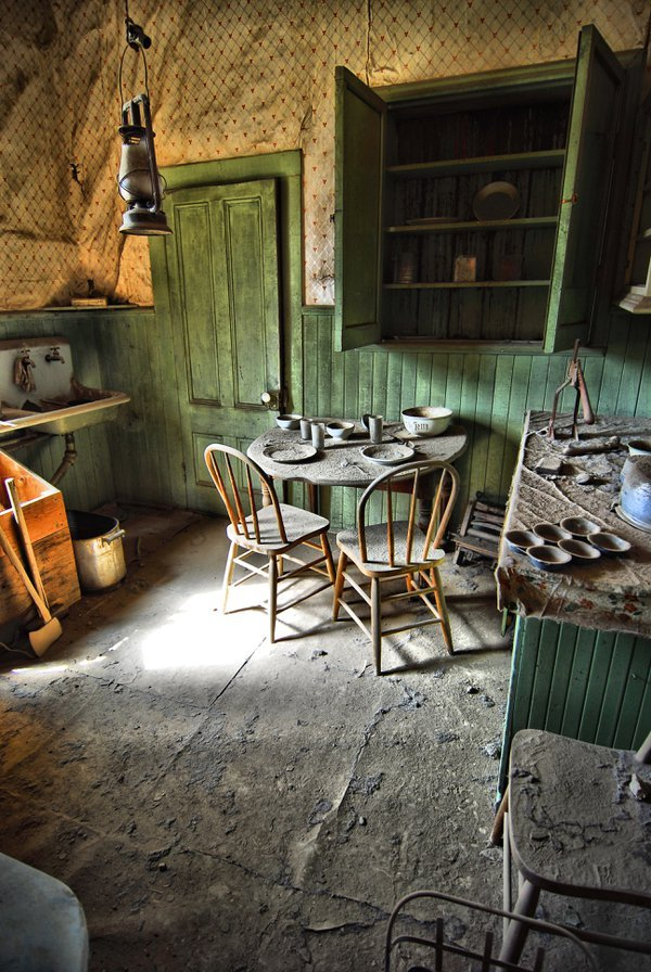 Kitchen in abandoned home in Bodie, CA.  Nikon D200, Tokina 12-24mm lens thumbnail