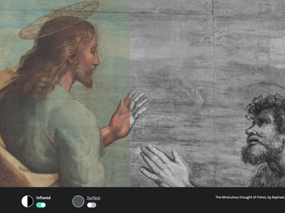 A screenshot of the new V&A; digital tool, which allows viewers to explore high-resolution scans of Raphael's cartoons for his Sistine Chapel tapestry sequence. Here, Jesus speaks to Simon in The Miraculous Draught of Fishes (Luke 5: 1-11).
