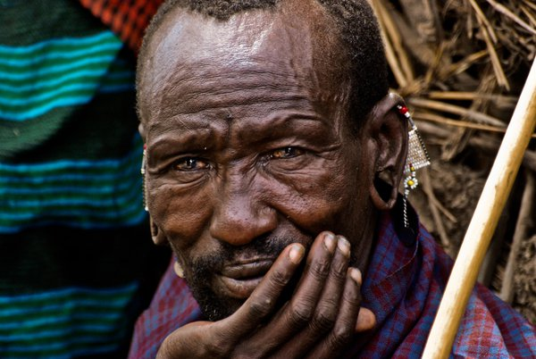 Ninety year old chief leader of a Masai tribe in East Africa. thumbnail