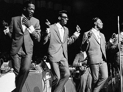 """Famous for Motown hits like """"My Girl"""" and """"Get Ready,"""" the Temptations spin and glide through their polished choreography at the Apollo Theater."""