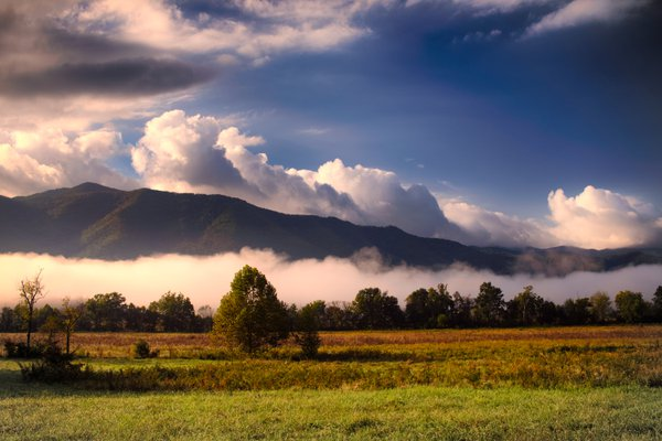 Mountains rise between clouds and fog at Cades Cove,  Great Smoky Mountains. thumbnail
