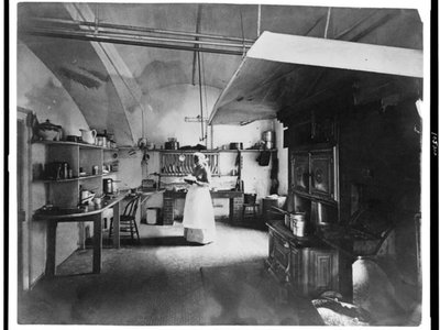 The White House kitchen in the 1890s.