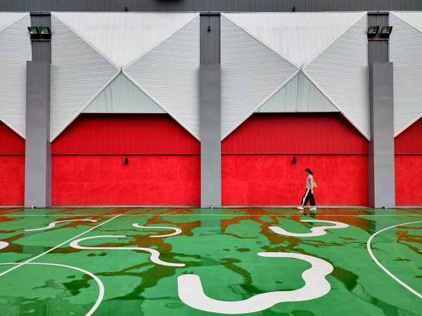 Walk through the basketball court after the rain thumbnail