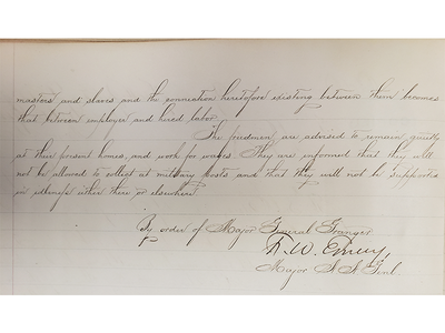 """Written in ornate cursive by a general's aide and signed by Maj. F.W. Emery on behalf of Granger, """"General Orders No. 3"""" had long been hidden in a book of formal orders housed at the archives."""