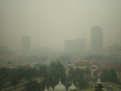 Haze in Kuala Lumpur, Malaysia.