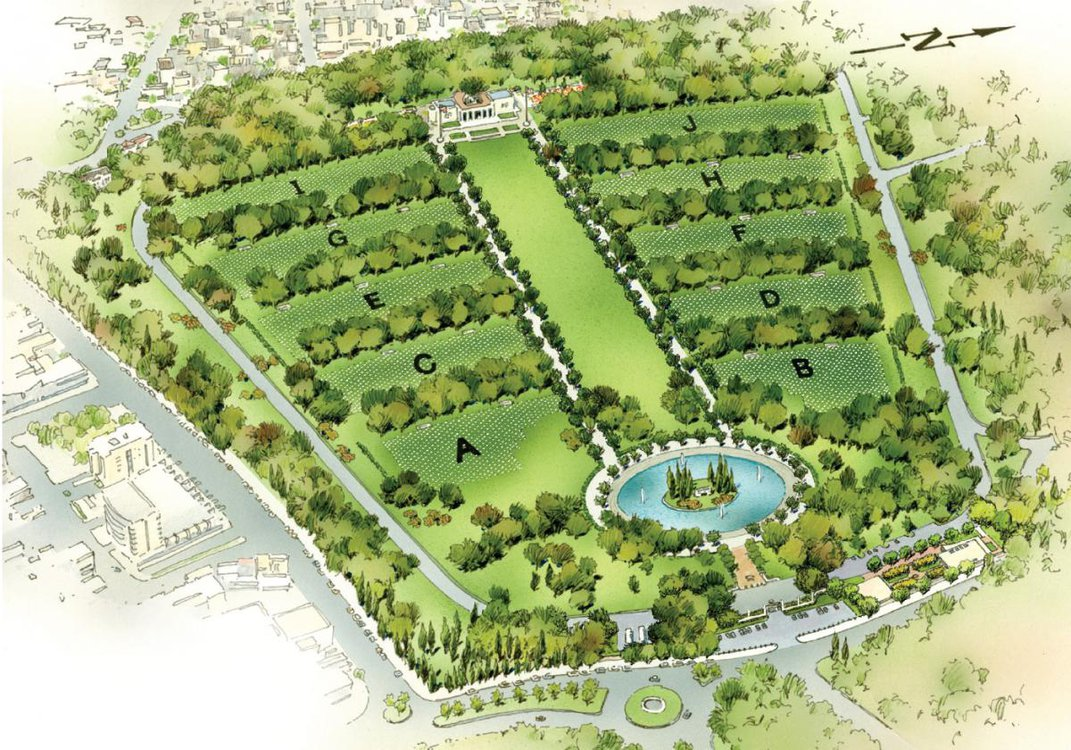 Illustration of a cemetary layout