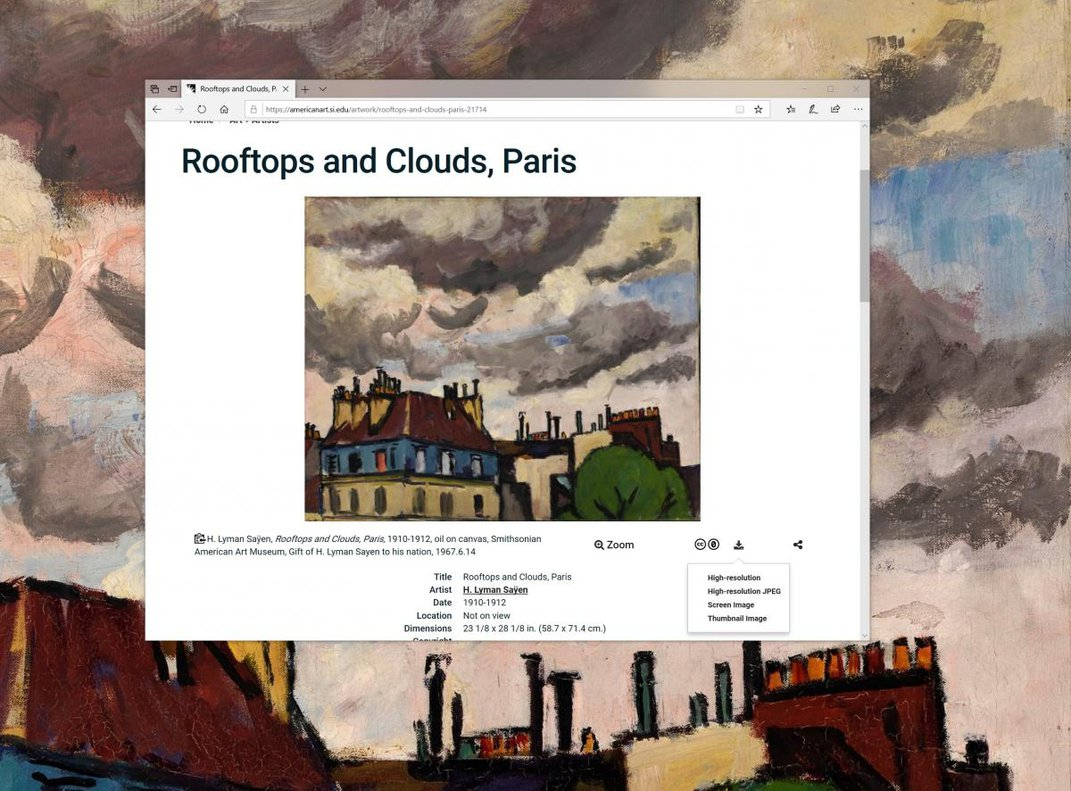 A painting with rooftops and clouds.