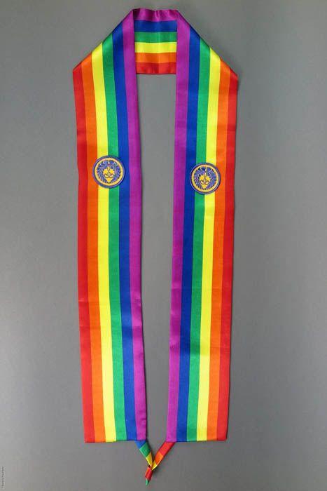 Rainbow striped stole