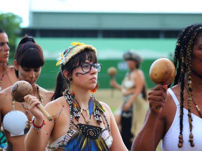 Members of Puerto Rico's Concilio Taíno Guatu-Ma-cu a Boriken presented a dance ceremony to invite the public to recover the collective spirituality of their Native ancestors.