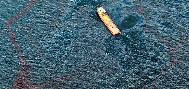Workboat near site of damaged Deepwater Horizon platform