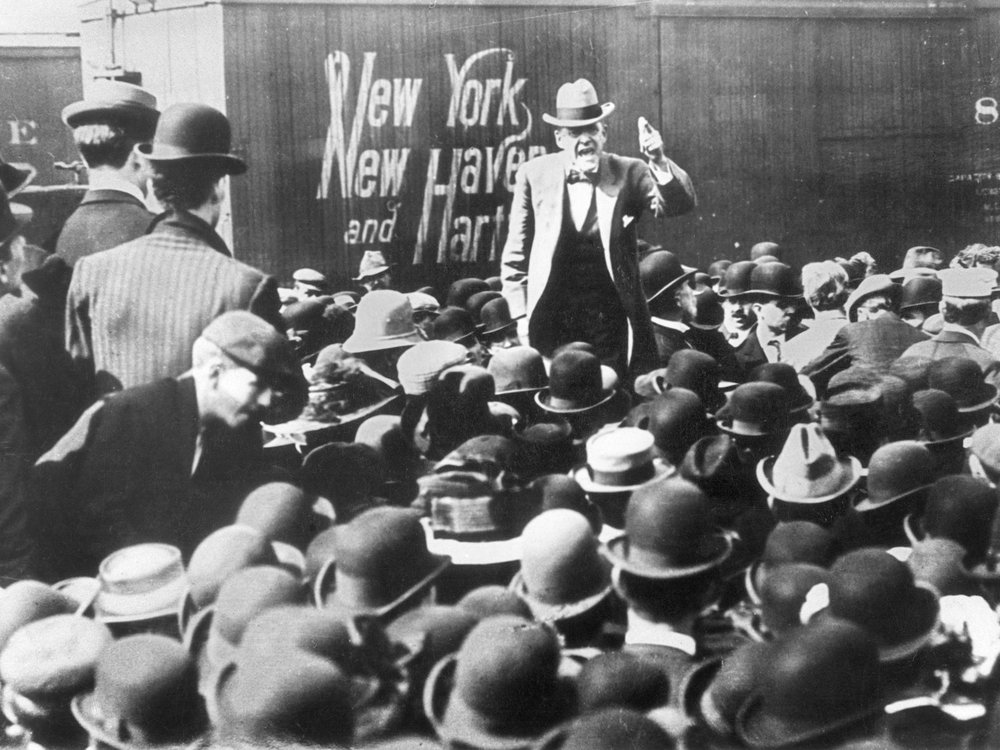 Debs campaigning for the presidency before a freight-yard audience in 1912.