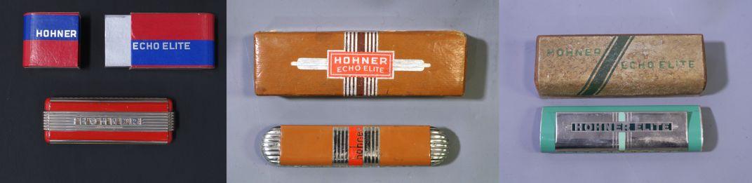 Three iterations of the John Vassos-designed Echo Elite harmonica.