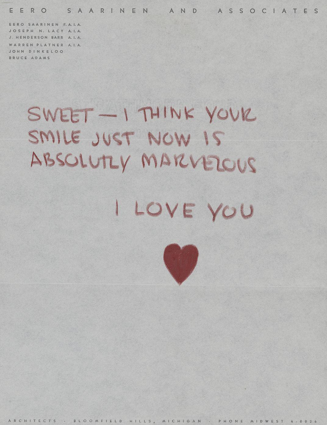Illustrated note to Aline Saarinen from Eero Saarinen