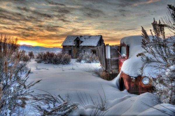 Winter Sunrise On The Old Frozen Farm thumbnail