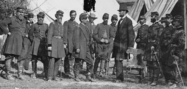 President Lincoln with officers at the Battle of Antietam