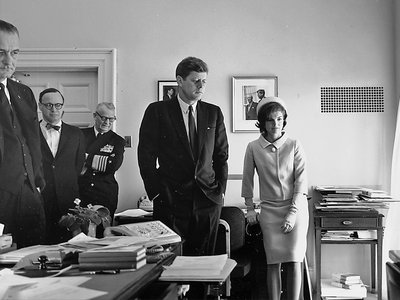 JFK, Vice President Lyndon B. Johnston, First Lady Jaqueline Kennedy and others watching the 1961 flight of astronaut Alan Shepard, the first American in space.