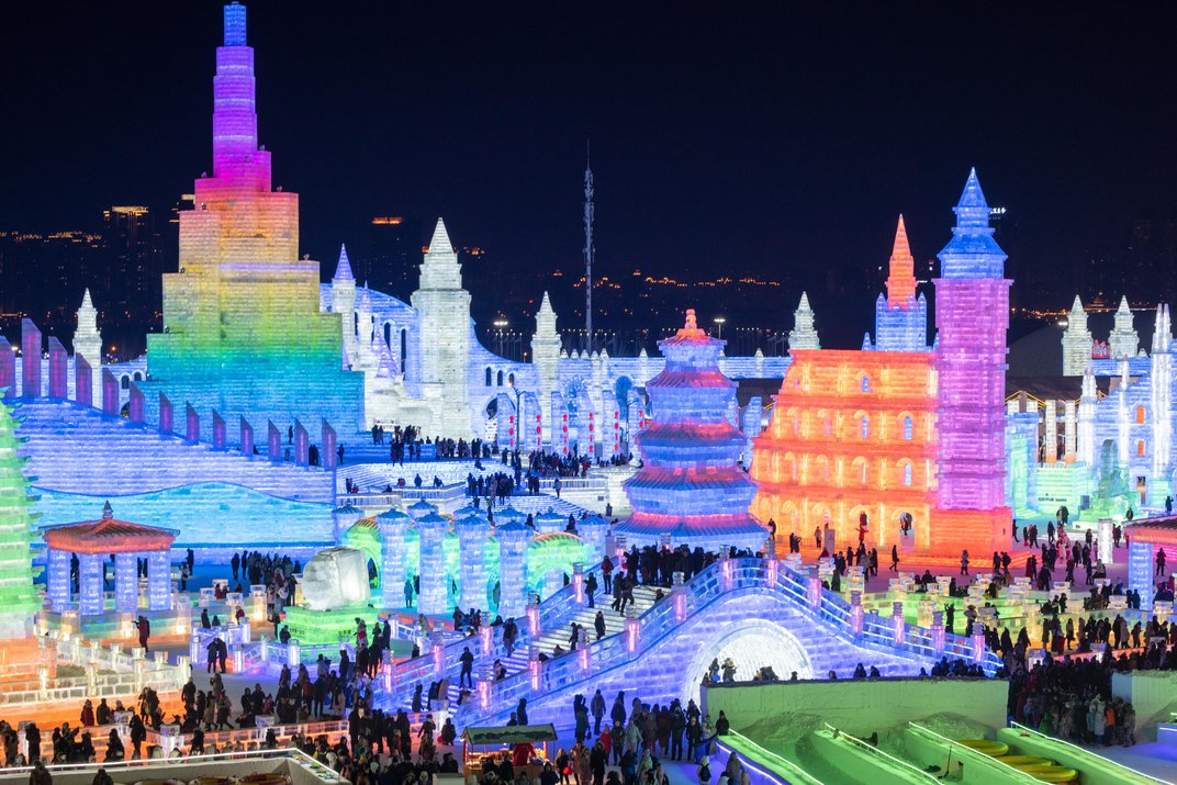 Glowing ice sculptures span eight million square feet of Harbin, a city in China's northeastern Heilongjiang province. (VCG / Getty Images)