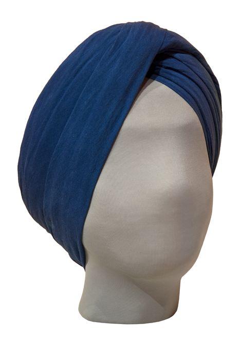 Blue wrapped turban