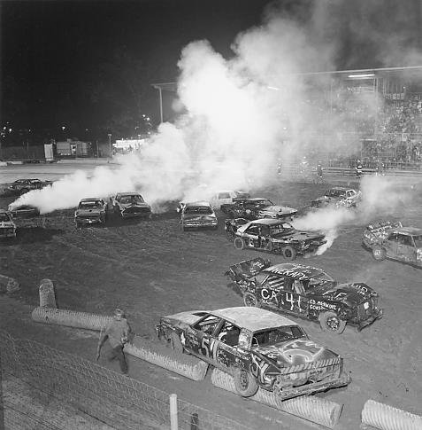 Competition at the West End Fair Demolition Derby, Gilbert, Pennsylvania