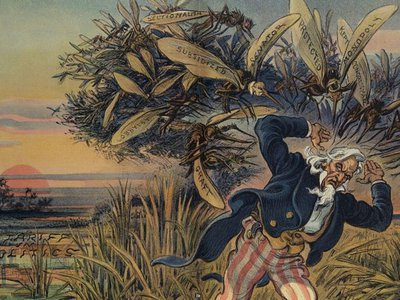 """Illustration titled, """"If you want to get rid of mosquitos, drain the swamp that breeds them."""" (1909)"""